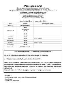 PAROISSE INFO du 12 au 19 septembre 2020