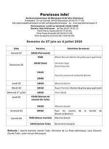 PAROISSE INFO du 27 juin au 4 juillet 20