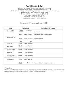 PAROISSE INFO du 27 février au 6 mars 20