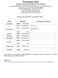 PAROISSE INFO du 30 janvier au 6 février
