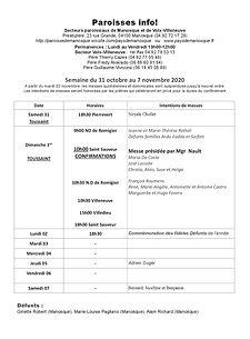 PAROISSE INFO du 31 octobre au 7 novembr