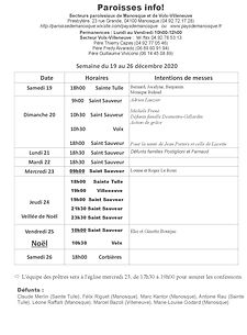 PAROISSE INFO du 19 au 26 décembre 2020.