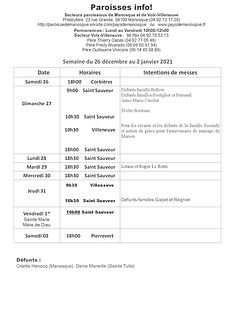 PAROISSE INFO du 26 décembre au 2 janvie