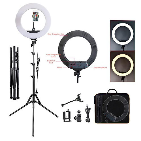 """Bi-Color LED Ring Light with Stand and Accessories Kit (16"""")"""