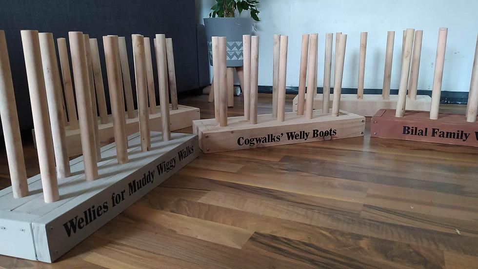 Freestanding Welly Rack Storage Stand Outdoor Shoe Holder Wooden
