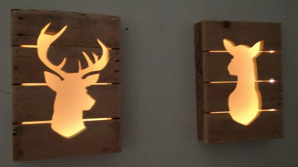 Stag and Doe Christmas Lights Wall Art Pallet Wood Recycled Festive Decor