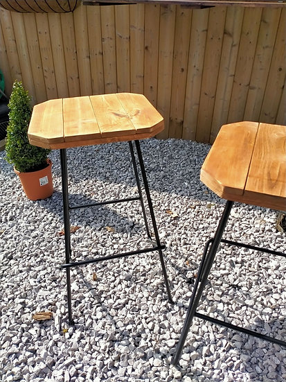 Pair of Wooden Pallet Bar Stools Pub Seating Outdoor chairs Pair