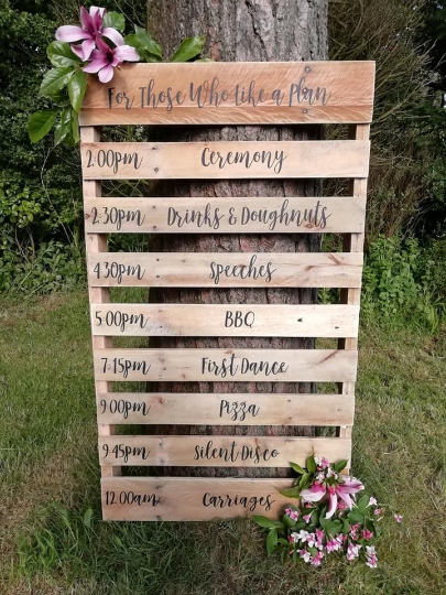 Wedding Order of the Day Plan Schedule Itinerary Personalised Custom