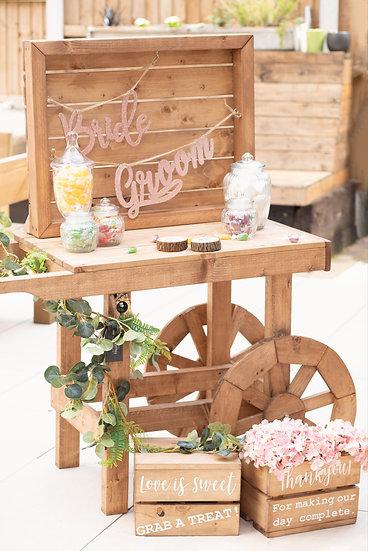 Candy Sweet Cart Wedding Rustic Display Dessert Buffet Treat Table