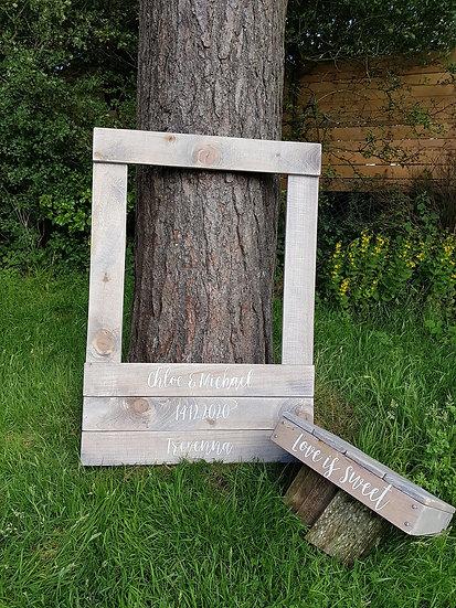 Wedding Selfie Frame Photo Prop Wood Rustic Personalised Keepsake