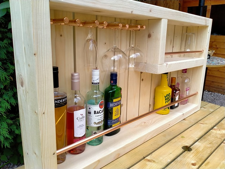 Open Front Wall Bar Spa Hot Tub Copper Outdoor Pub Beer Wine Gin Rack