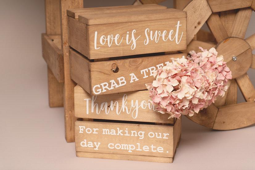 Pair of Mini Crates Display Rustic Wedding Sweet Cart Photo Props