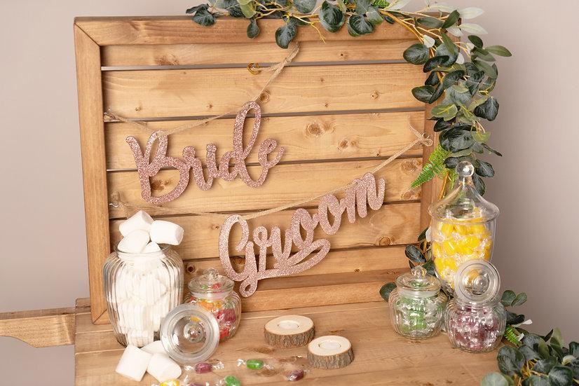 Sweet Cart Display Board Wedding Photo Prop Photographs Rustic Wooden Homeware