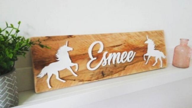 Bedroom Sign Plaque Name Unicorns Rockets Shape Personalised Decor Door Name