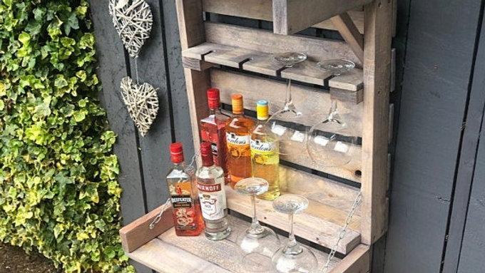 Wall Bar Garden Indoor Outdoor Pub Wooden Pallet Gin Glass Holder Wine Beer BBQ