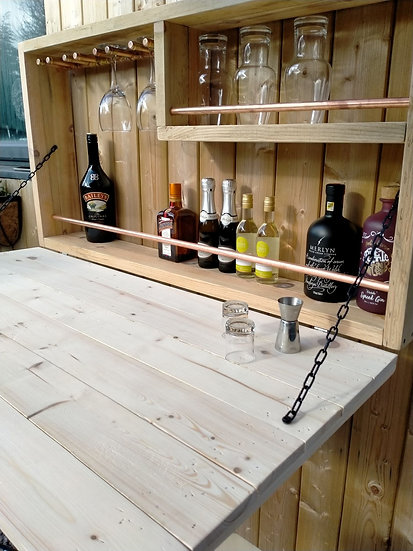 Open Back Copper Wall Bar Outdoor Pub Beer Wine Gin Rack Pallet Wood Rustic Gift