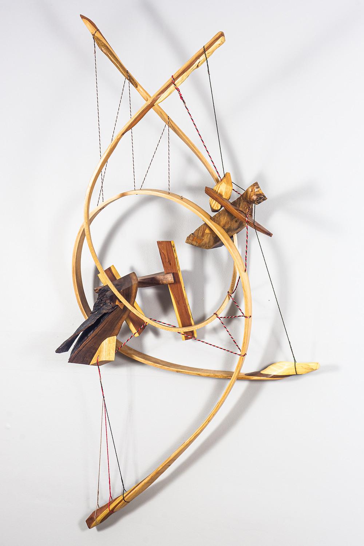 Steam bent abstract wood art sculpture contemporary art