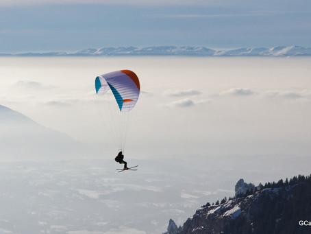 parapente skis au pied à Thollon