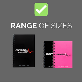 GymPad Workout Journal Range of Sizes
