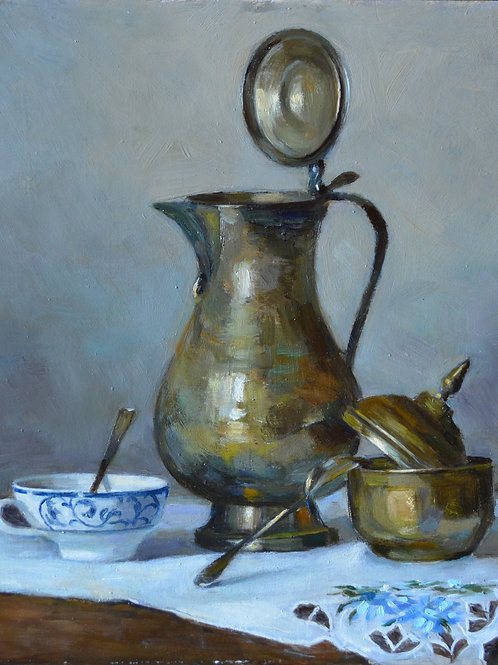 """Still life with a silver pot"" 20x30cmOil on cardboard. 2020. Original artwork ."
