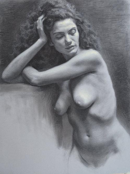 """Female nude"" Charcoal drawing . 48X64cm. 2019. Original artwor."