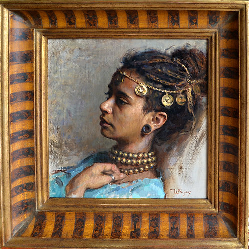 """Ambra"" 35x35cm Oil painting . Framed. Original artwork ."