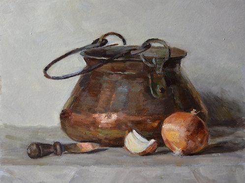 """Copper pot""  28x35cm Oil on cardboard."