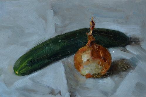 """Cucumber and onion study"" 17x26cm 2020. Original artwork."