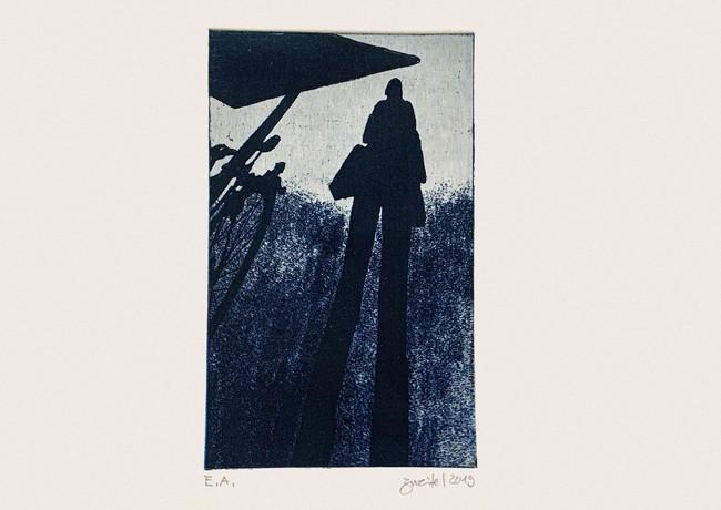 Warten blau (2019) von Irene Zweifel