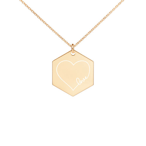 Herz withe love Engraved Silver Hexagon Necklace