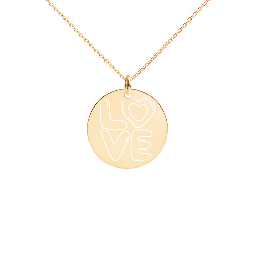 Love Engraved Silver Disc Necklace