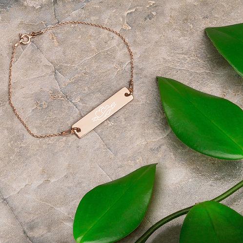 Herz Engraved Silver Bar Chain Bracelet