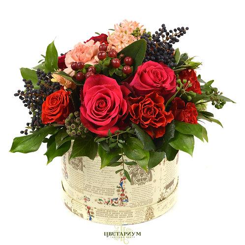 Композиция в коробке-цилиндре роза El Toro 7 рускус ягоды  хедера гиперкум 2 гиа