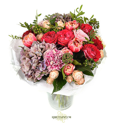 букет роза Hermosa 1 роза Esmeralda  6 кустовая пионовидная роза Bombastick 3 го