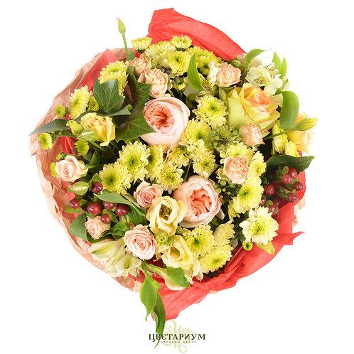 букет пионовидная роза Juliette 2 роза Brokante 1  эустома 3 кустовая хризантема