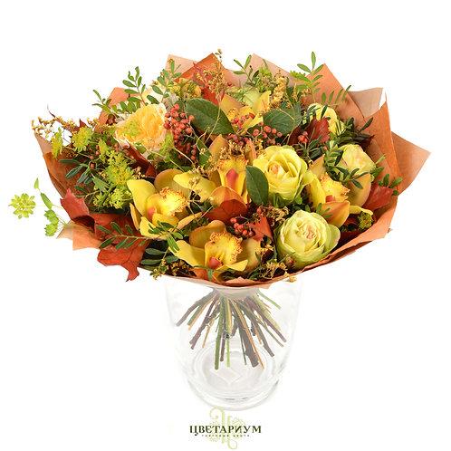 букет буплерум 2 пионовидная роза Beatrice 2 роза Brokante 5 орхидея цимбидиум 6