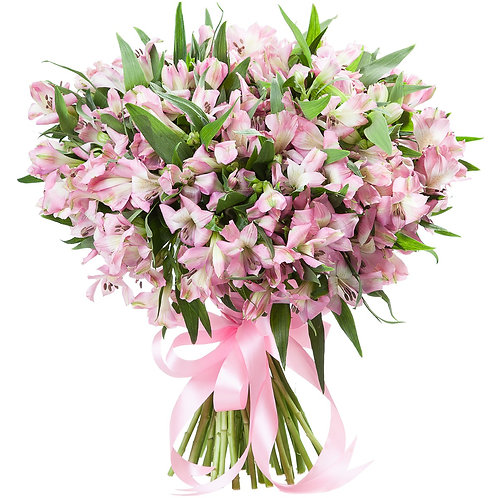 35 розовых альстромерий