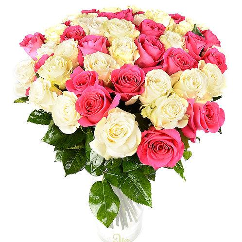 51 белая и розовая розы