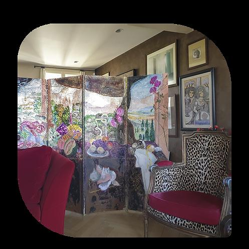 paravent artiste paris genevieve bonieux BONIEUX GEN Paravento personnalisé objet d'art art contemporain rue de Lappe Paris artist plasticienne mauritian art maurice ile maurice