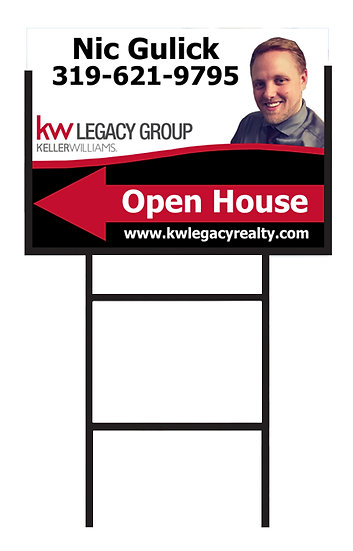 "OPEN HOUSE DIRECTIONAL WITH STAKE 24 X 18 w/3/8""metal stake"