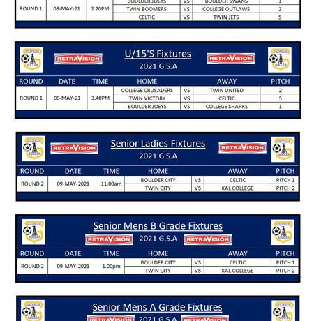 Under 13's Under 15's Seniors Fixtures 2