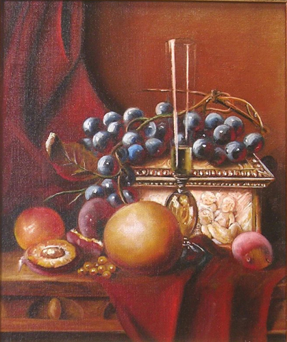 Still life with fruit, birds nest..