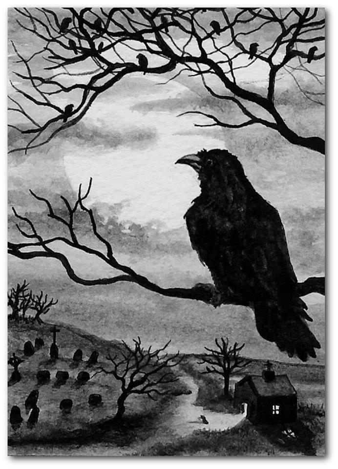 Corbeau maléfique au fusain