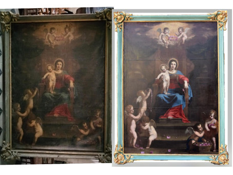 Rapport d'intervention du tableau Notre Dame des Anges signé Jean Daret.