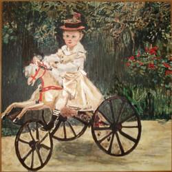 Jean Monet sur son cheval mécanique