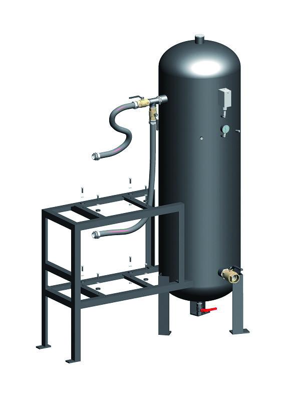 Vertical vacuum receiver and pump frame