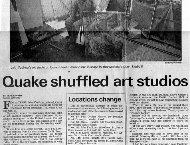 Loma Prieta Earthquake 1989 - John in his studio in Santa Cruz, CA
