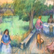 Three Figures in Garden (15x20)