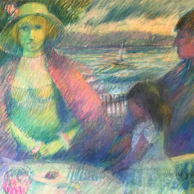 On the Veranda Pastel 1(15.5x22) 1980