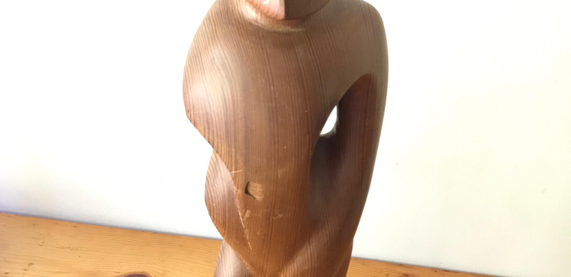 """Redwood Figure Sculpture 1980s (25"""" Tall"""